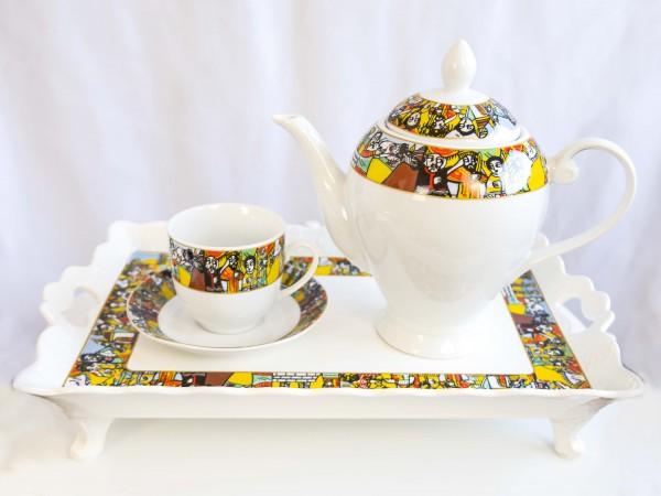 REKEBOT Tablett zum Kaffee servieren weiß aus Pozellan 39,5*24 CM