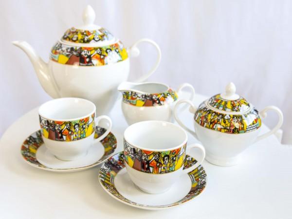 17 Stück äthiopische Tee Set aus Porzellan